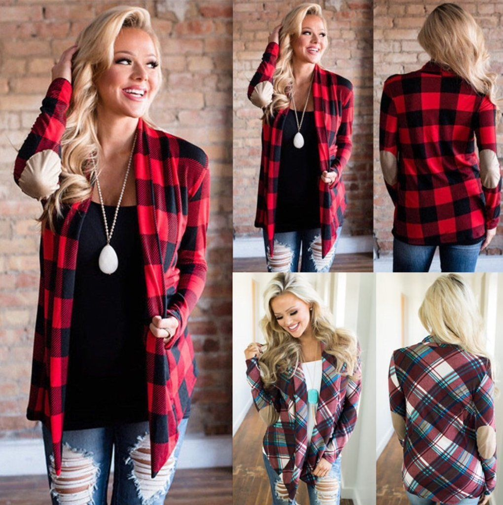 FashionOutfit Women/'s Casual Roll Up Long Sleeves Hooded Flannel Plaid Shirt