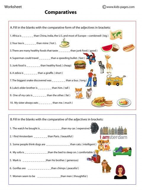 Comparatives worksheets English grammar, English lessons