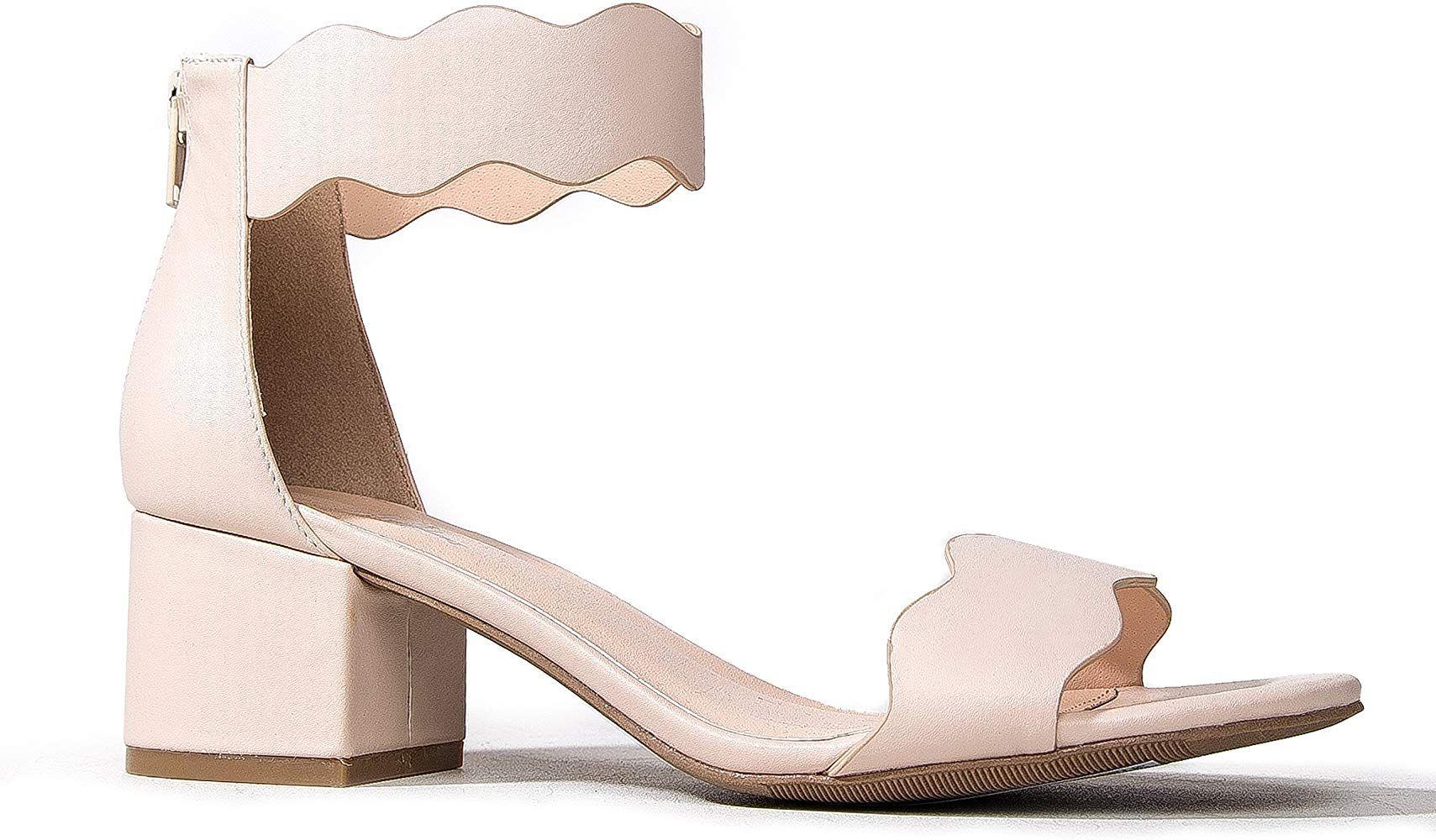Amazon Com Suede Open Toe Ankle Strap Sandal Trendy Kitten Heel Shoe Low Block Formal Heel Mimi By J Adams Ankle Strap Sandals Kitten Heel Shoes Heels