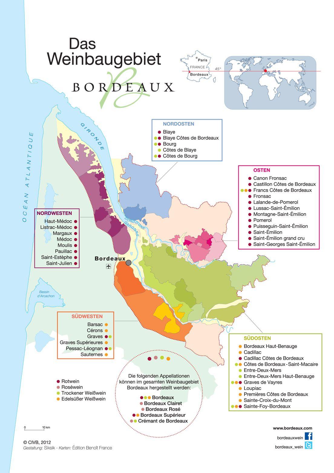 Bordeaux Appellationen Landkarte Der Region Bordeaux Com