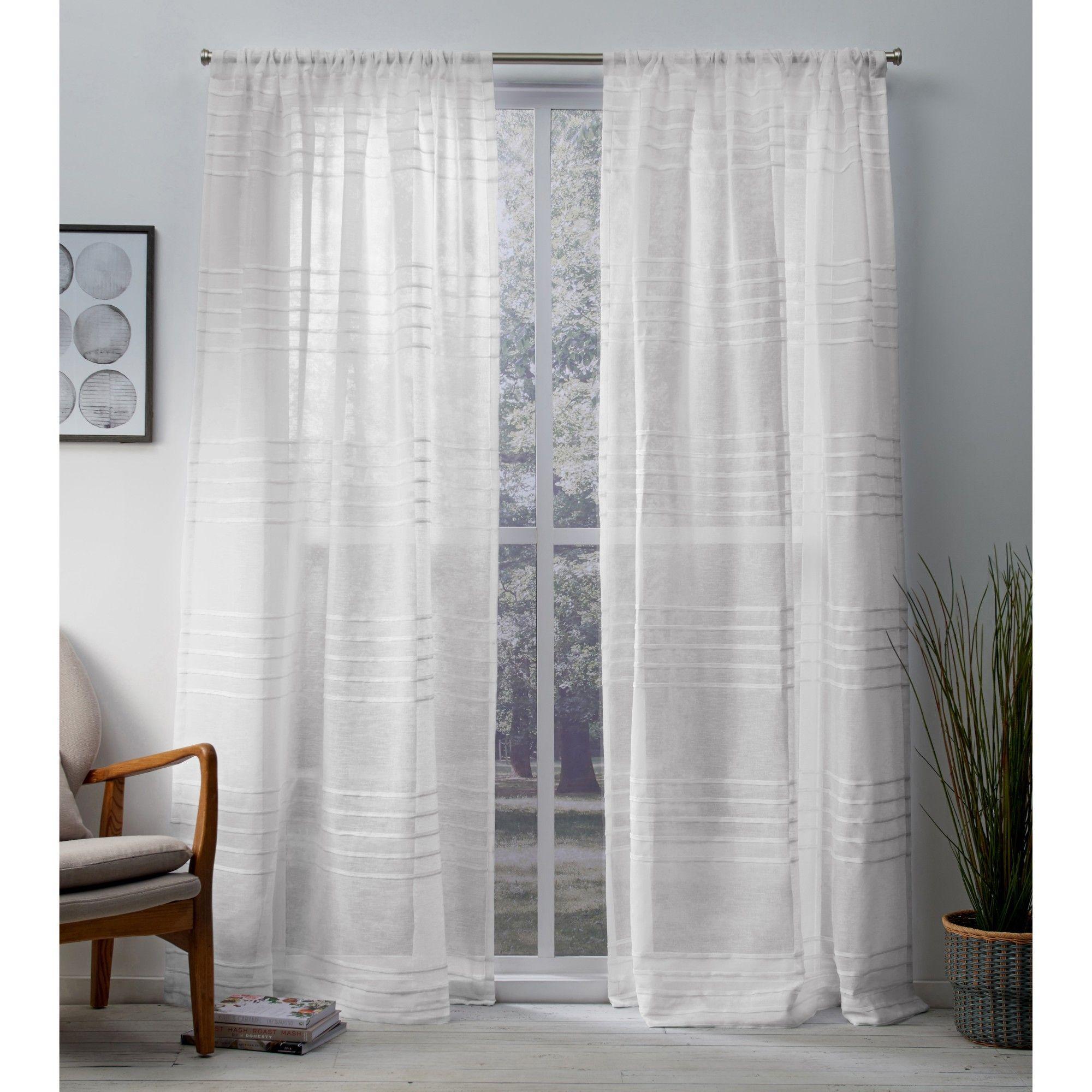 Monet Sheer Linen Pleated Cabana Stripe Rod Pocket Window Curtain Panel Pair Winter White 54x108 Exclusive Home Rod Pocket Curtains Panel Curtains Curtains