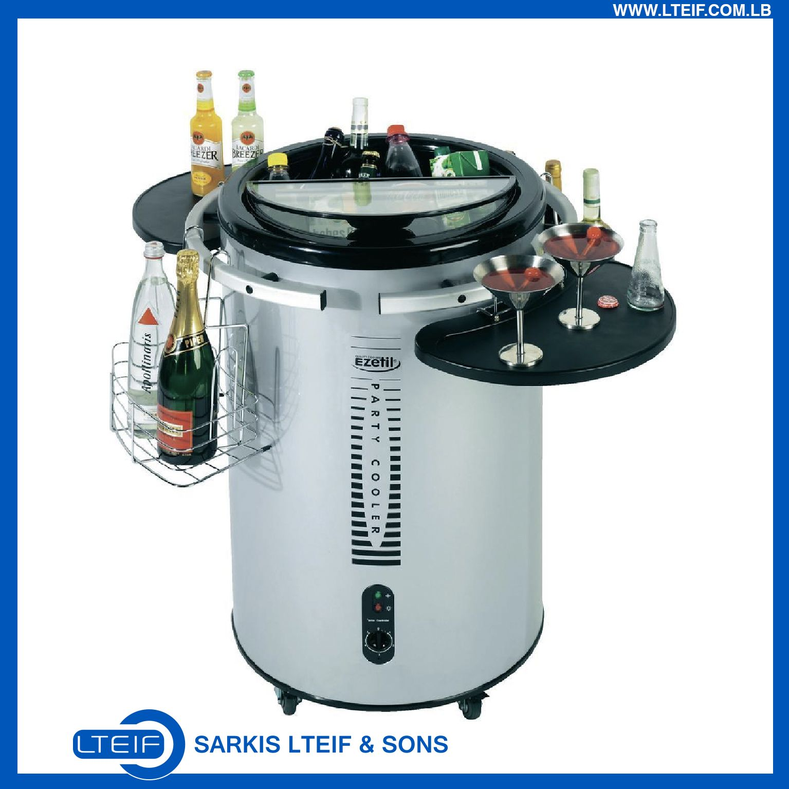 Ezetil Party Cooler Transparent Top With 2 Flap Lid With 58 Litre