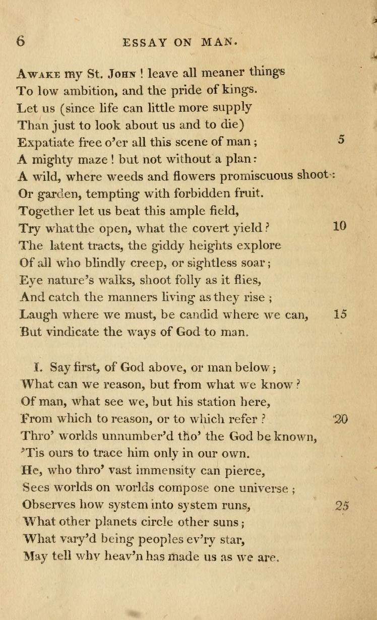 An essay on man, Alexander Pope