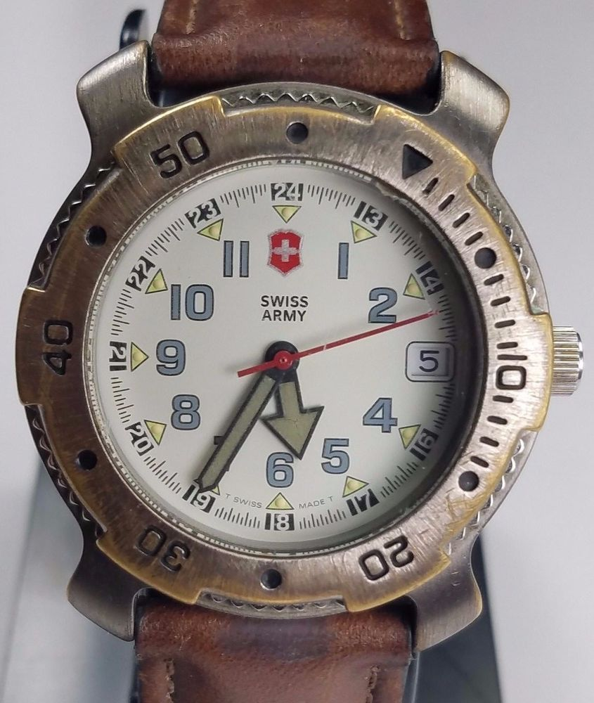 vintage swiss army brand mens watch wr166ft wbrown