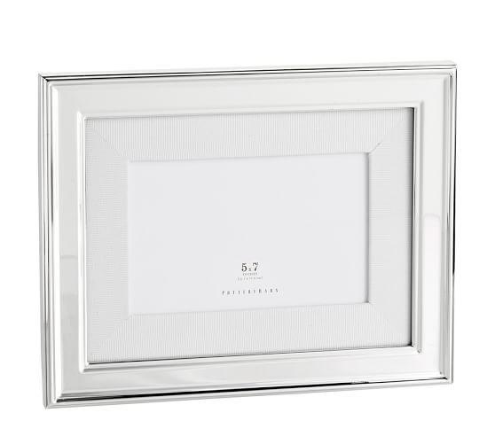 5x7 Silver-Plated White Grosgrain Ribbon Mat Frame   Pottery Barn ...