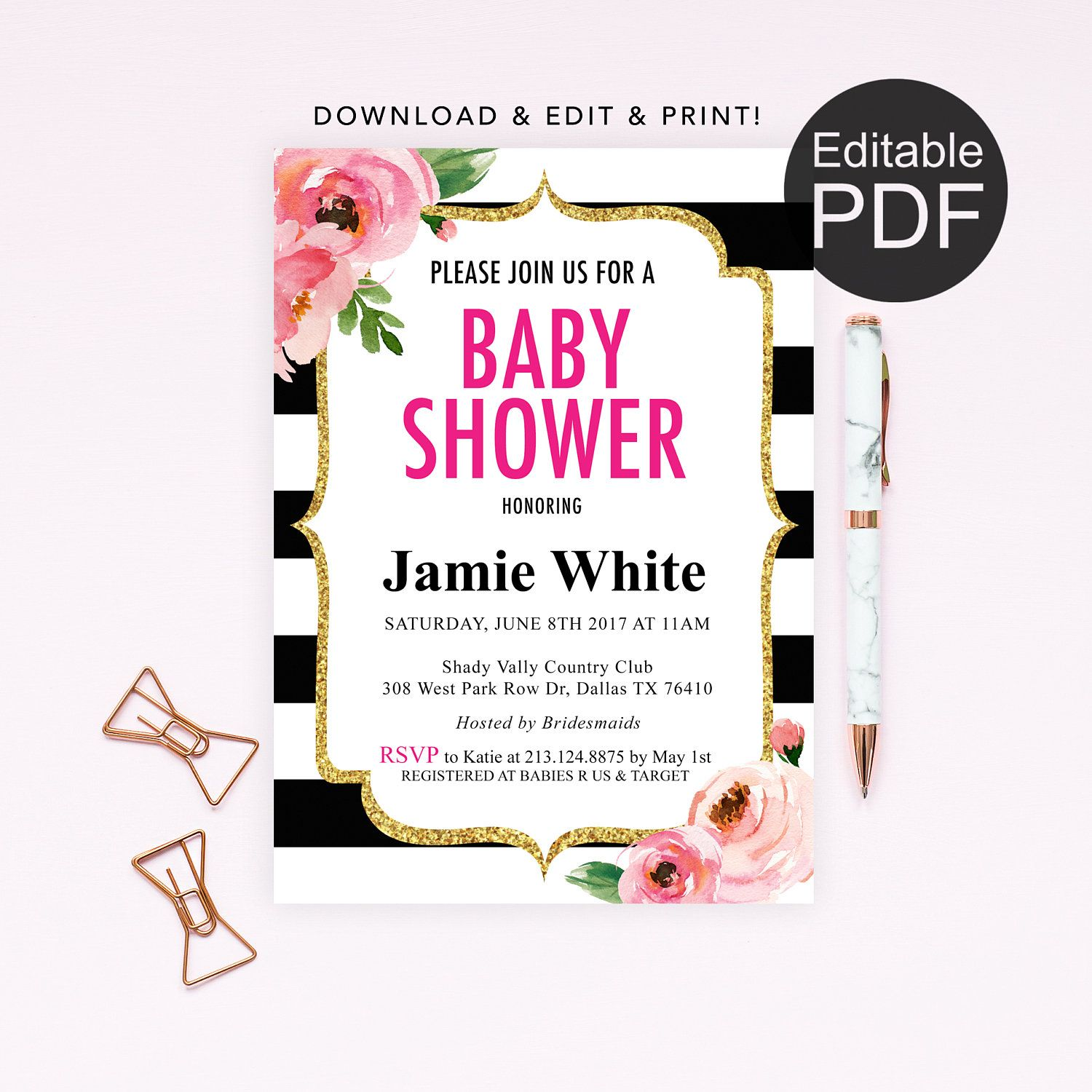 Diy Kate Spade Theme Baby Shower Invitation Template Print Today