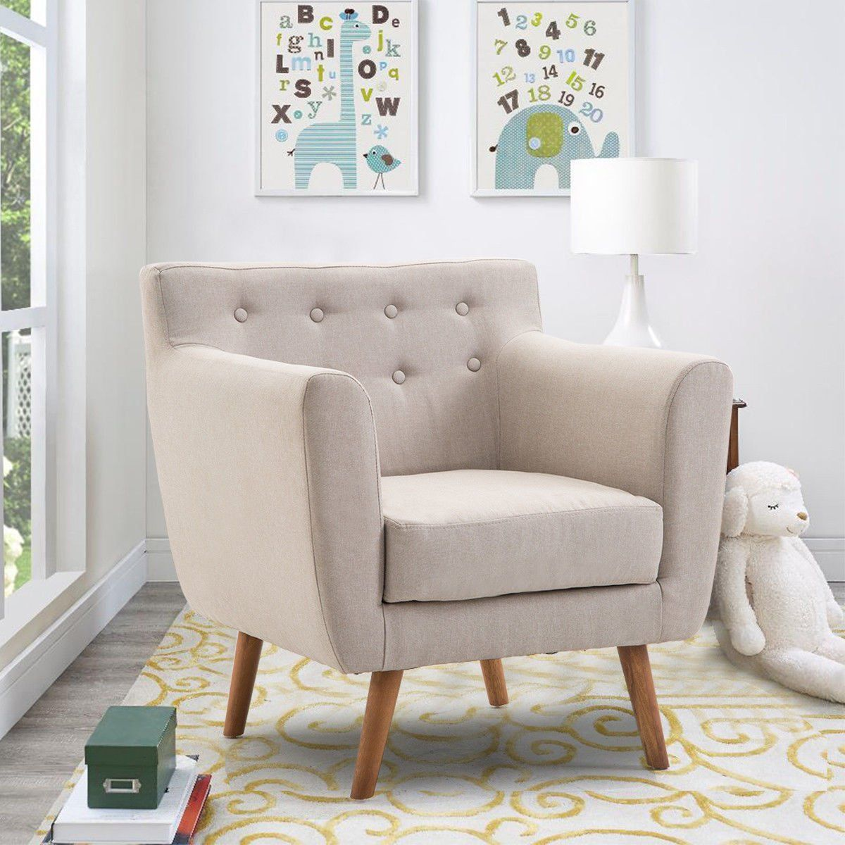 Giantex Tufted Arm Chair Fabric Upholstered Wood Leg Mid Century Sofa Accent Chair Beige Upholstered Accent Chairs Wood Sofa Living Room Chairs Cute chairs for living room