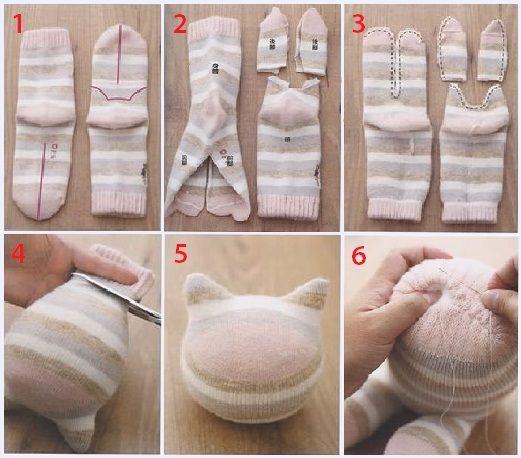 Котенок из носков своими руками выкройки фото