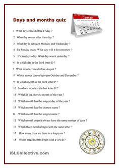 Days and months quiz