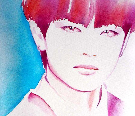 Tae Kpop Art Print Fashion Illustration Watercolor Ink Korean Style Artwork Gift Ideas Fashion Illustration Watercolor Art Artwork Gifts