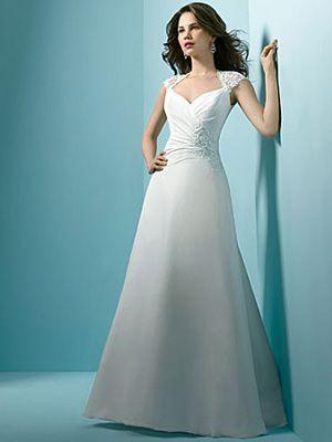 A-Line Ball Gown Princess Off the Shoulder V-Neck Cap Sleeve Non ...