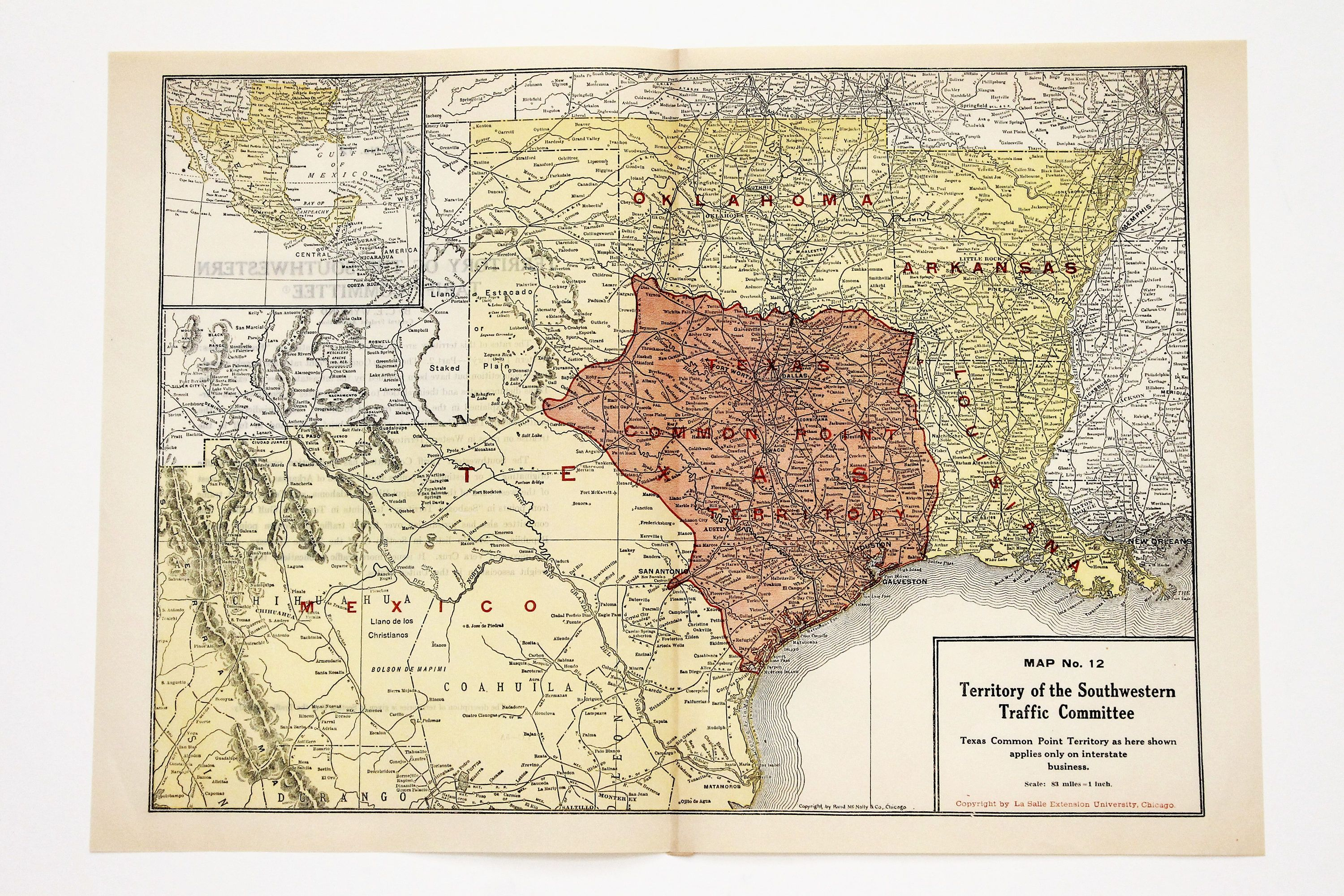 1920 Texas Map Austin Dallas Houston El Paso Railroad San Antonio