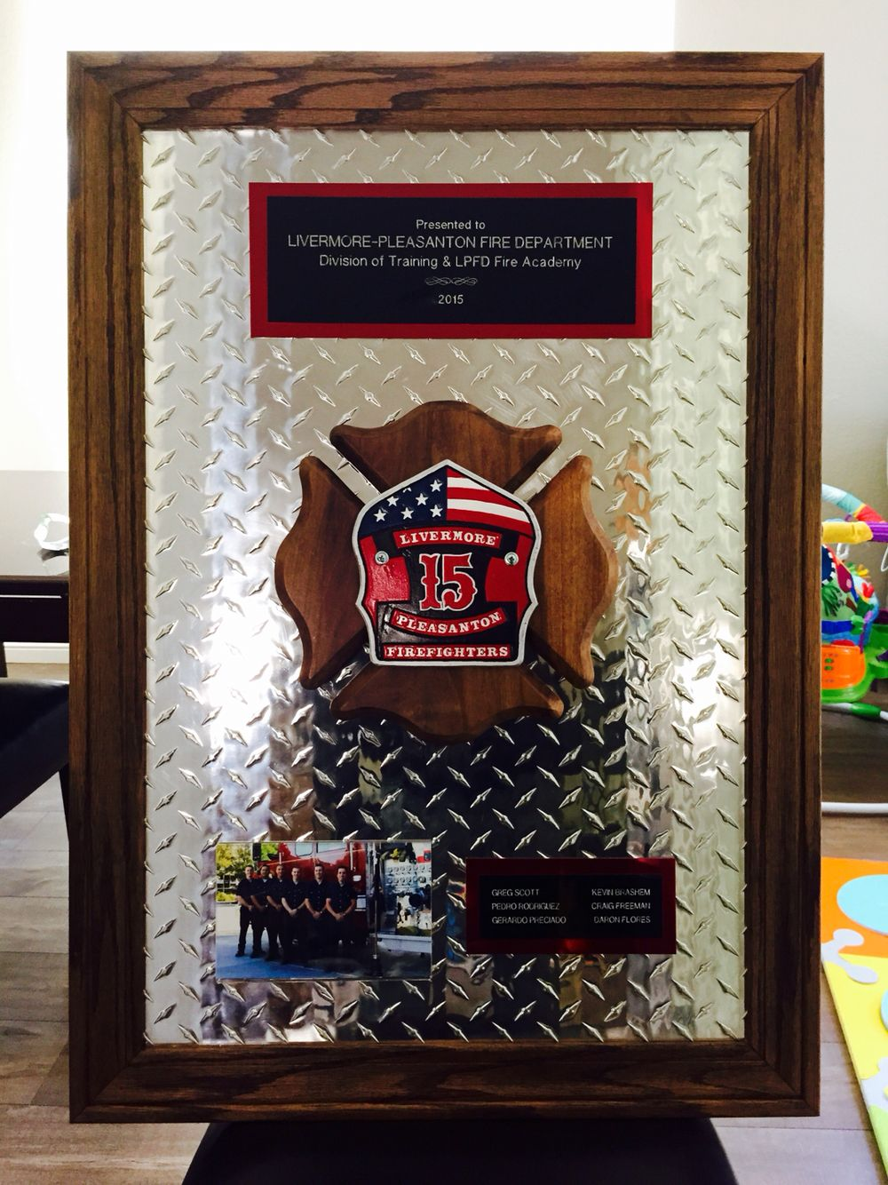 2 x 2 diamond plate plaque with walnut trim and wooden maltese custom academy graduation plaque lpfd livermorepleasantonfire firefighter trophy jeuxipadfo Choice Image