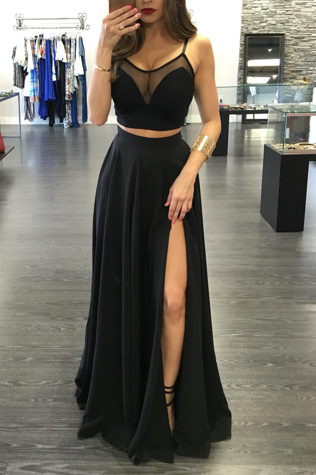 Popular black two pieces prom dressspaghetti straps evening dress