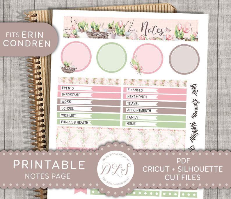Erin Condren April Notes Page Kit Printable April Notes Page | Etsy