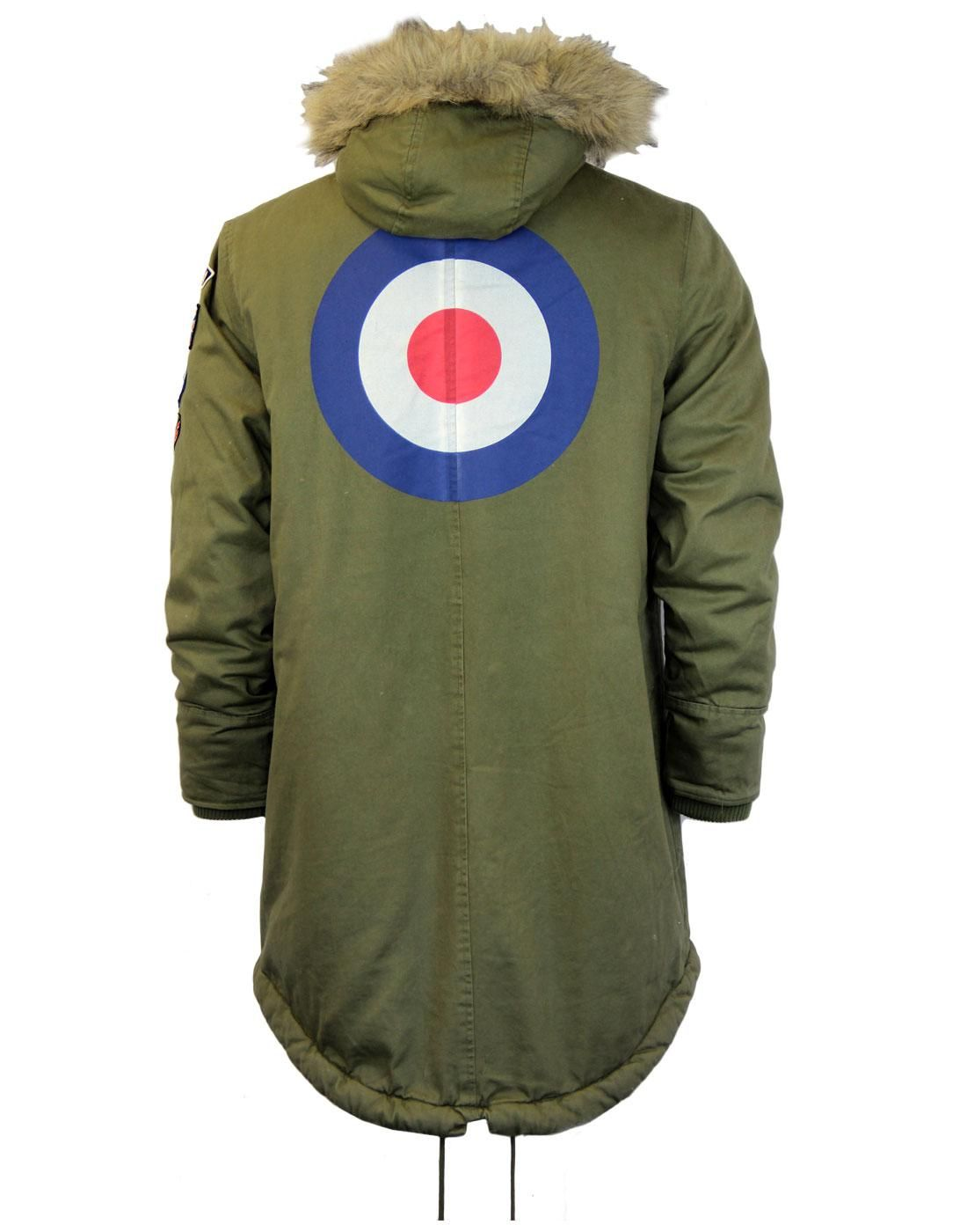 819bd5784be9 Brand: Lambretta Key Points: Lambretta fishtail parka with Mod Target back  print and arm patches.