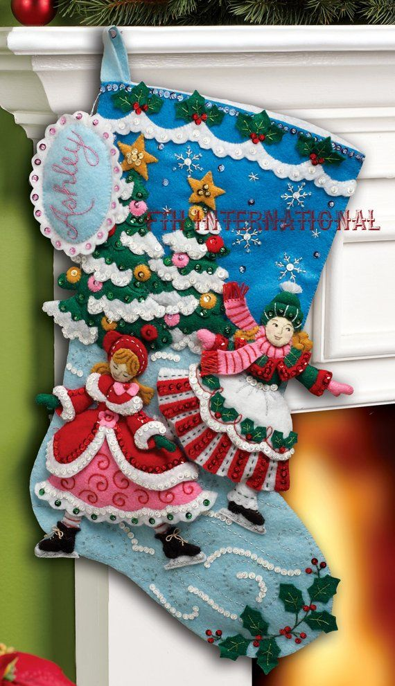 Bucilla Skaters 18 Felt Christmas Stocking Kit 86357 Diy