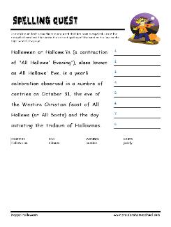 grade 4 halloween worksheet halloween vocabulary spelling quest halloween worksheets. Black Bedroom Furniture Sets. Home Design Ideas