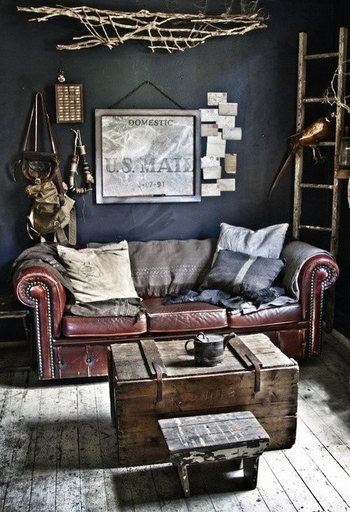 manly office. Couch For A Manly Office [ ArtOfGolf.com ] #decor #art #golf M