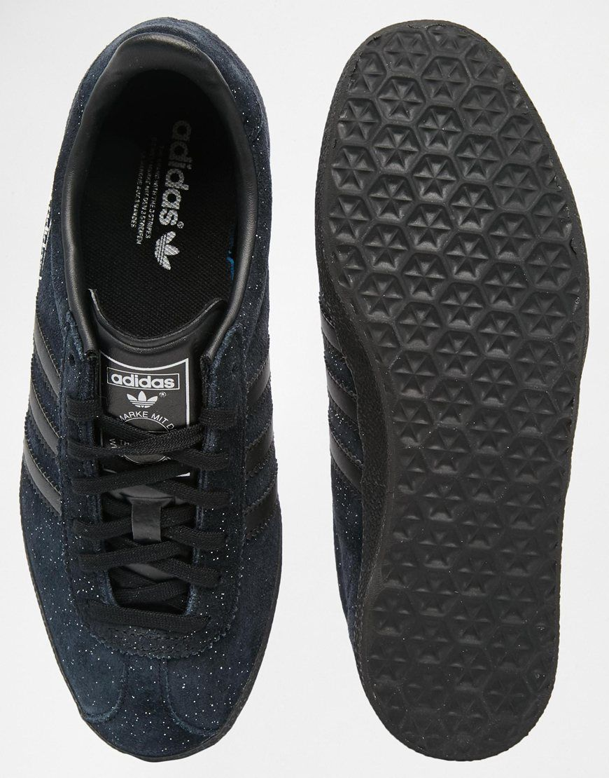 Image 3 of adidas Originals Glitter Suede Black Gazelle OG