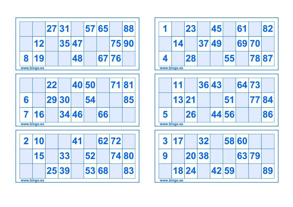Cartones De Color Azul Bingo Para Imprimir Cartones De Bingo Cartas De Bingo