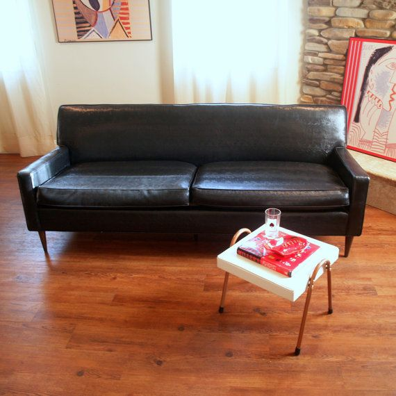 1950s Vintage Black Faux Leather Mid Century Modern Sofa