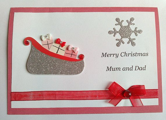 Sleigh And Presents Christmas Card With Red Bow On Includes Sentiment Merry Mum Dad The Front Inside Is Stamped