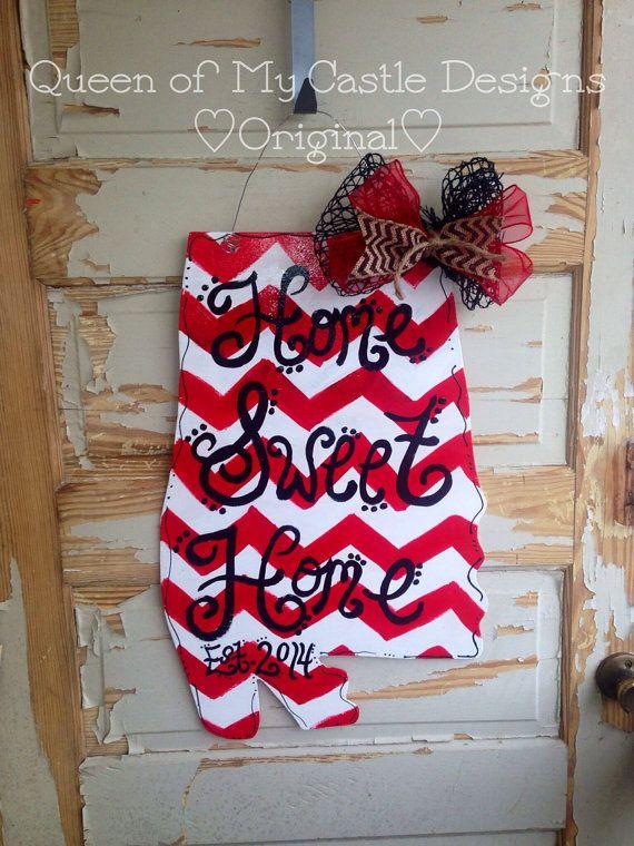 Chevron Alabama Door Hanger by queensofcastles on Etsy, $40.00