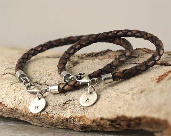 Personalized Bracelets Hand Stamped Bracelet Two Matching His And Her Leather Sterling Silver