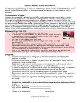 Practice Contract For Private Voice Students Private Music Lessons Voice Lesson Student