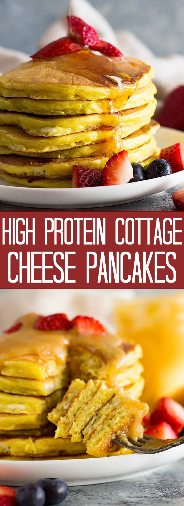 High Protein Cottage Cheese Pancakes- This is a great recipe if you are looking to add more protein to your diet without using protein powder! These pancakes are light, fluffy, and low carb! #proteinpowderpancakes