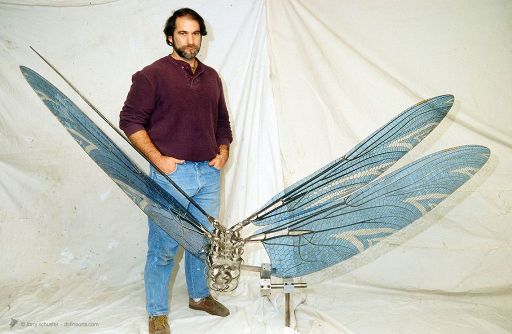 Larry Schuster with DRAGONfly sculpture