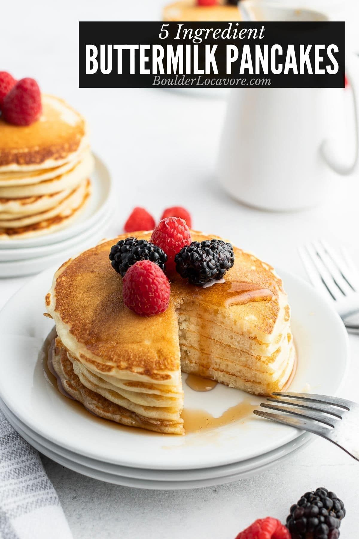 Homemade Buttermilk Pancakes Are Thick Fluffy And So Easy To Make Only 5 In In 2020 Easy Buttermilk Pancake Recipe Buttermilk Pancakes Easy Pancake Recipe Buttermilk