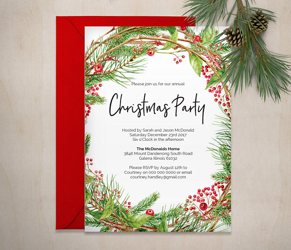 Printable Christmas Invitation Template, Christmas Wreath Invite