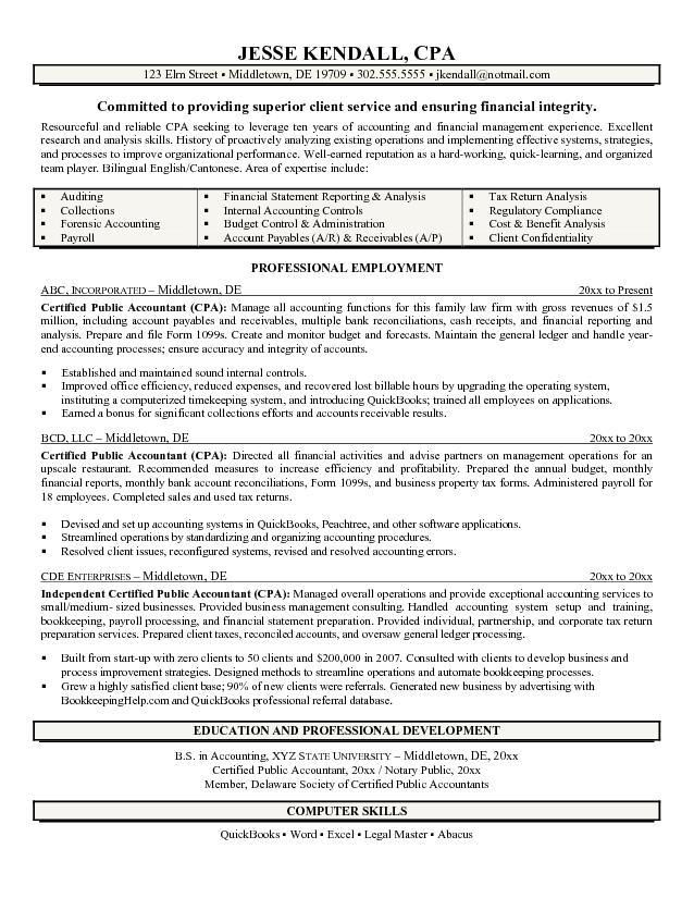 cpa resume writer free certified public accountant exle - accounting bookkeeper sample resume