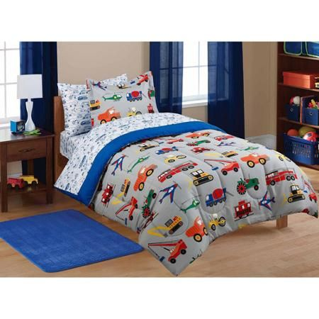 Mainstays Kids Transportation Bed In A Bag Coordinating Bedding Set Walmart Com Boys Bedding Sets Kids Bed Sheets Kids Bedding Sets