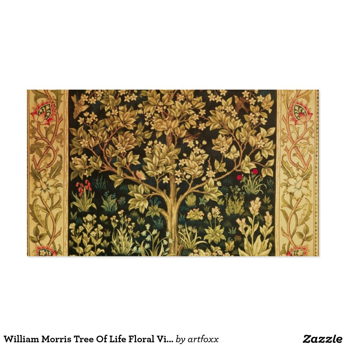 William morris tree of life floral vintage art business card william morris tree of life floral vintage art business card reheart Gallery