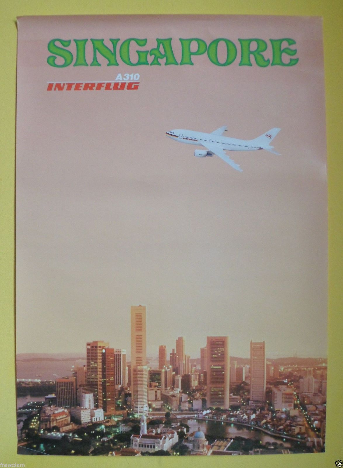 Interflug Large Original Vintage Travel Poster Singapore Airbus A310