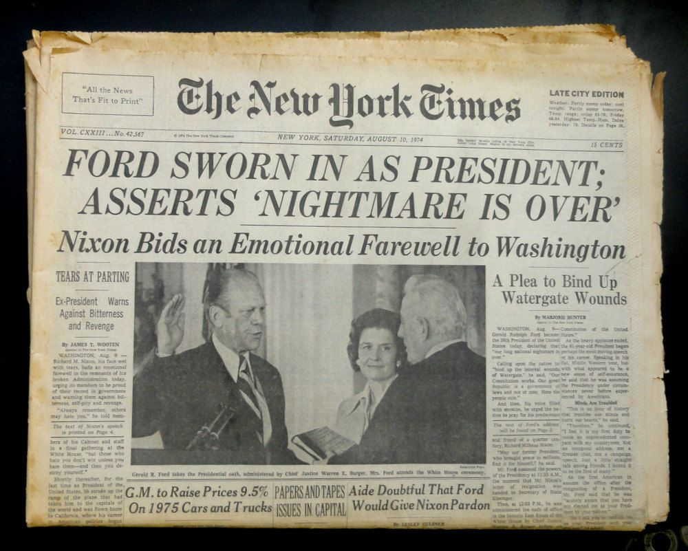 Old Newspaper New York Times August 9th 1974 Nixon Resigns