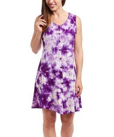 Loving this Purple Tie-Dye Button-Front Shift Dress on #zulily! #zulilyfinds