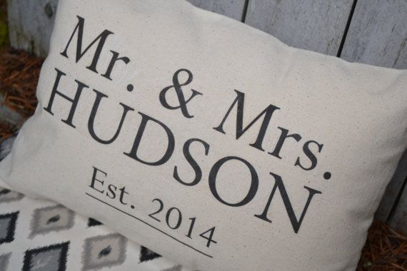 50th Wedding Anniversary Gift Pillows: Cotton Anniversary, Personalized Mr. & Mrs. Pillow