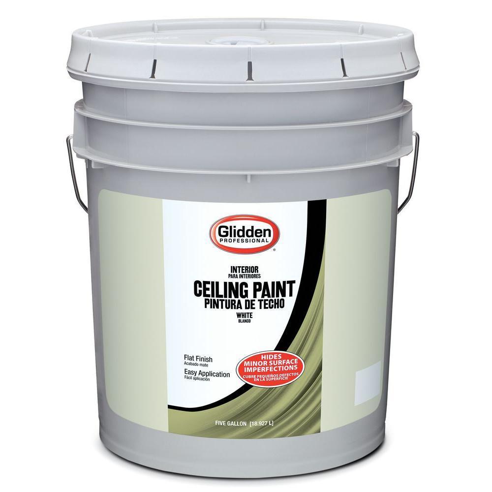Glidden Ceiling 5 Gal White Flat Interior Ceiling Paint Whites Painted Ceiling White Interior Paint Flat Interior