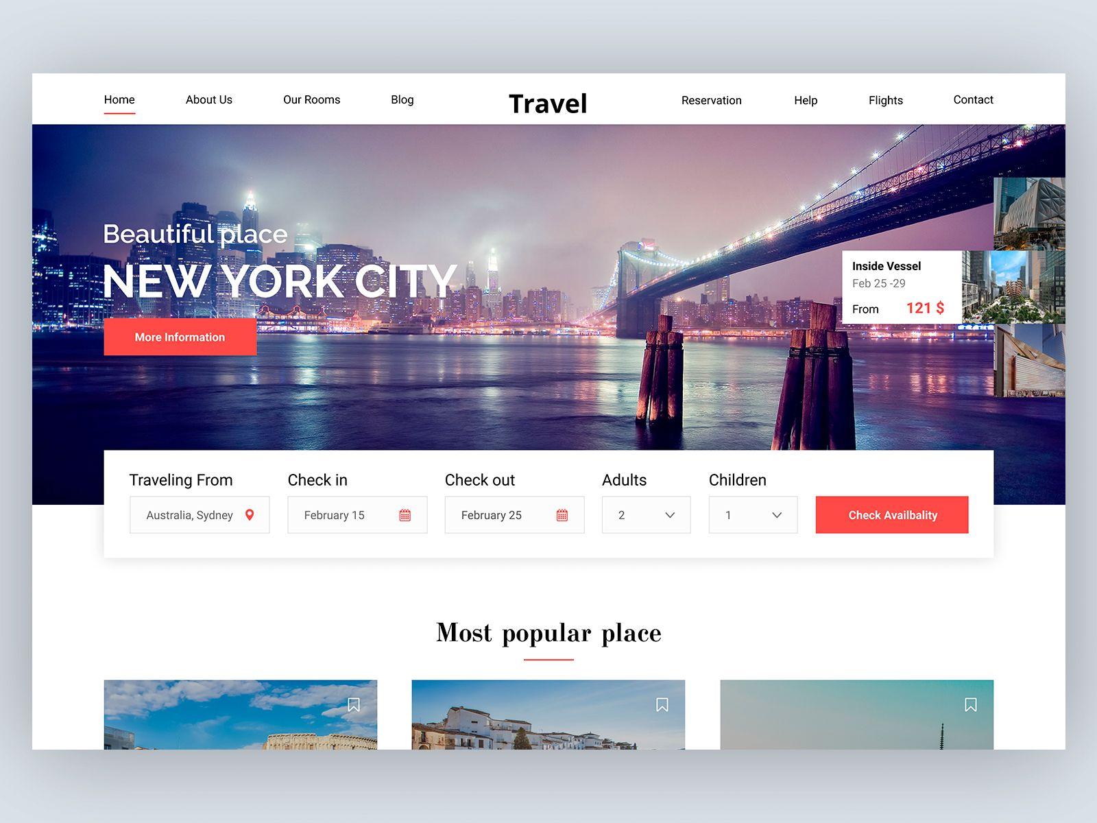 Travel Booking Concept Portfolio Web Design Travel Web Design