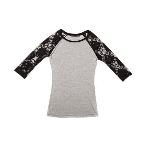 Shop for Girls Black Lace B-Ball Tee in Gray at Journeys Shoes. Shop today for the hottest brands in mens shoes and womens shoes at Journeys.com.Elegant meets sporty. Vintage style baseball tee featuring floral black lace sleeves.