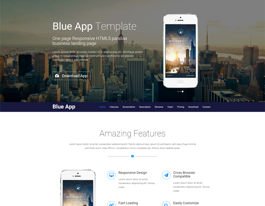 Blue App Template Is A One Page Responsive HTML Parallax Business - Free landing page templates html5