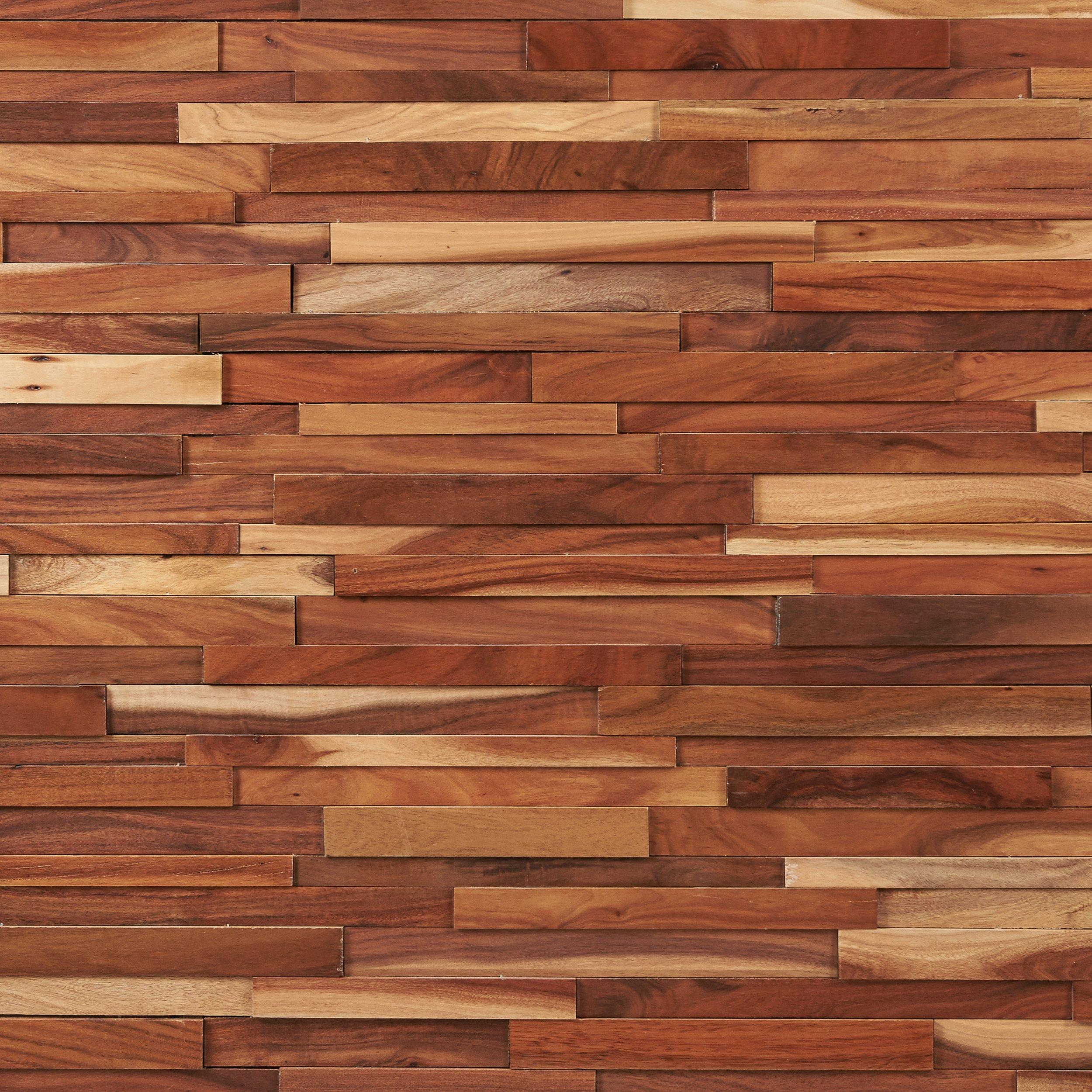 Small Leaf Acacia Hardwood Wall Plank Panel In 2020 Wall Planks Wood Mosaic Natural Flooring