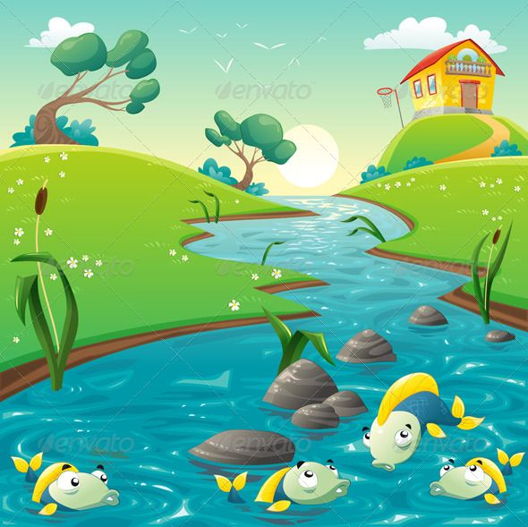 Landscape with river and funny fish. Vector illustration.  Folder contains:  EPS file; High Resolution JPG file;