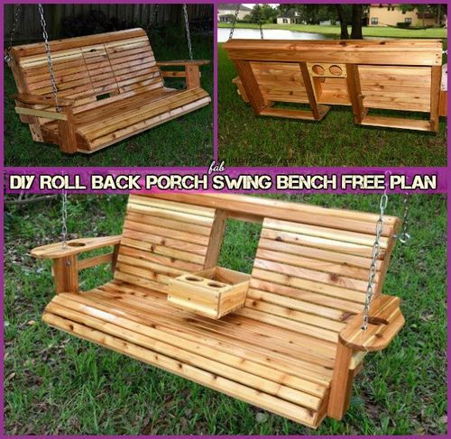 Diy Roll Back Porch Swing Bench Free Plan In 2019 Porch