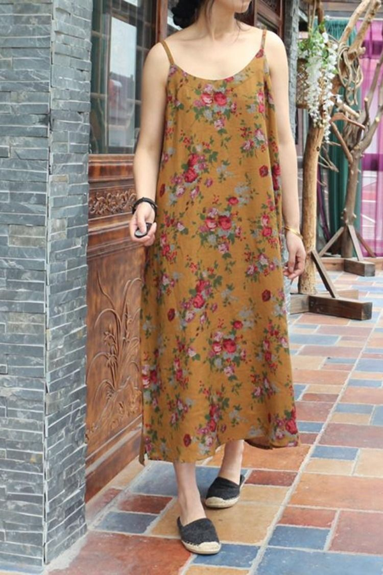 c1530080cf Plus Size Yellow Floral Spring Cotton Strap Dress