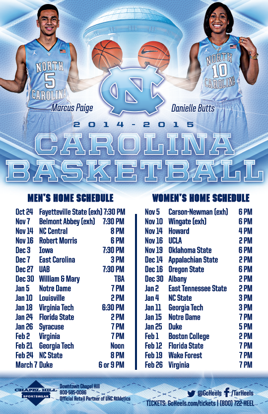 Clean image for unc basketball schedule printable